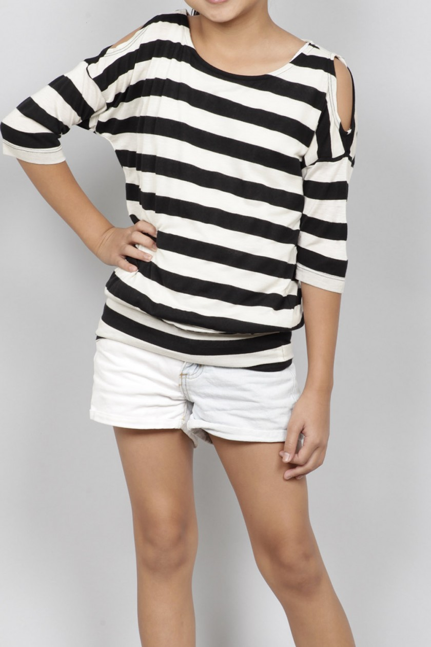 COLD SHOULDER STRIPE TOP<br />SIZE XS-XL<br />1-2-2-2-1 (8 PCS)