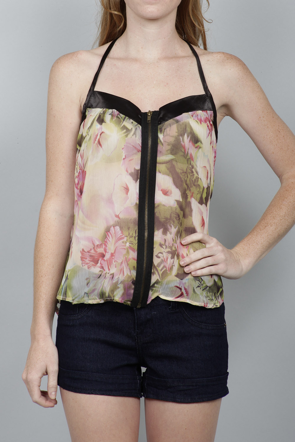SPAGHETTI STRAP T- BACK CHIFFON FLORAL PRINT TANK WITH EXPOSED ZIPPER FRONT