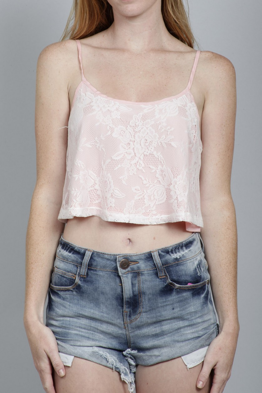SP STRAP LACE OVERLAY CROP TOP<br />SIZE S-L<br />4-3-2 (9 PCS)