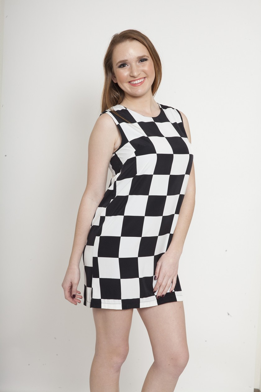 S/L ALL OVER CHECKERED BACK ZIP DRESS<br />SIZE S-L<br />2-2-2 (6 PCS)
