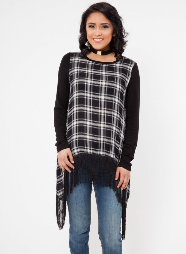 LONG SLEEVE WOVEN PLAID SHARK BITE WITH FRINGE TRIM TOP<br />SIZE S-XL<br />1-2-2-1 (6 PCS)