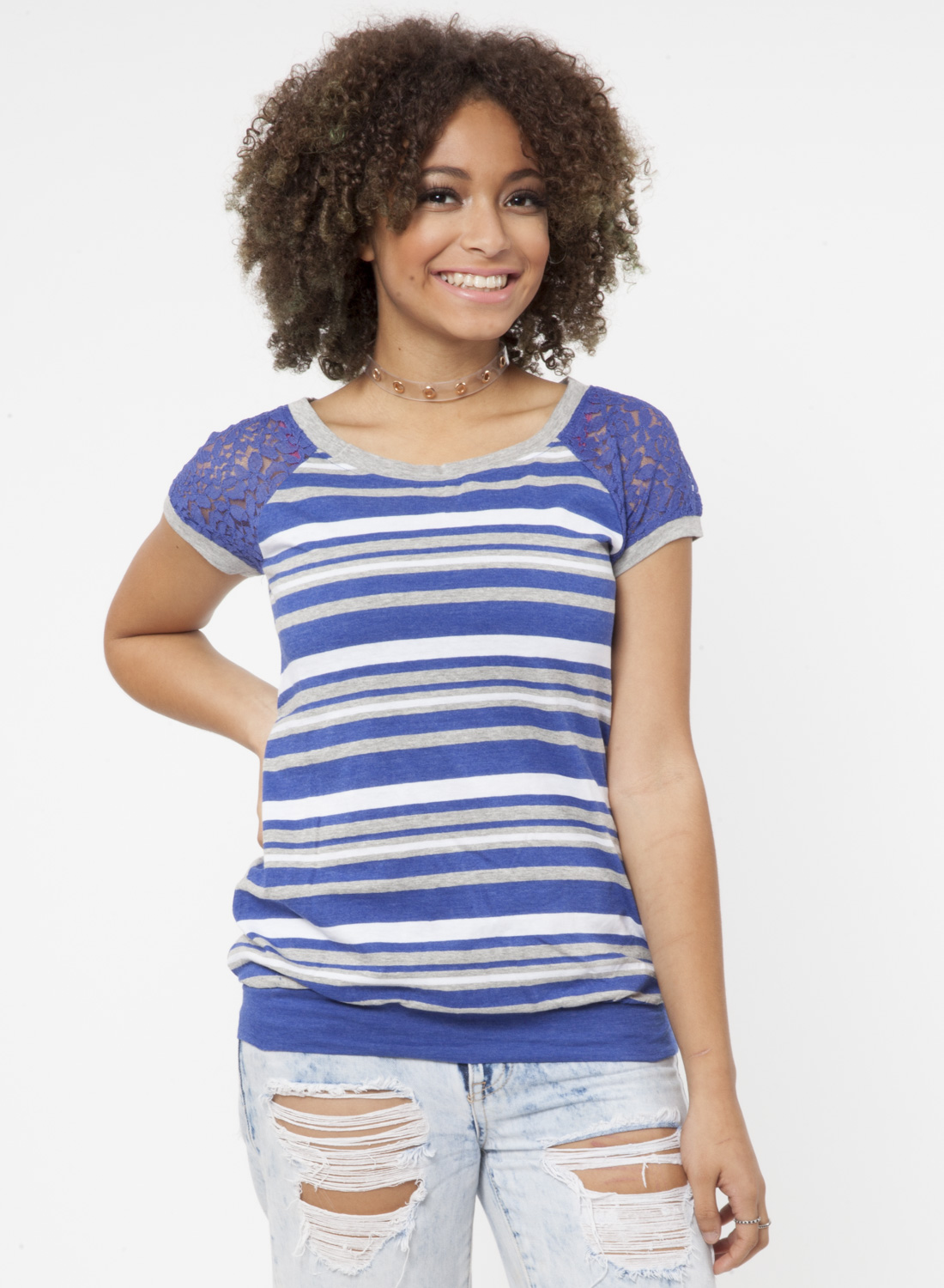 0b5870dfa3a S S SCOOP NECK STRIPE TOP W LACE SLEEVE BANDED BOTTOMSIZE S-XL1-2-2 ...
